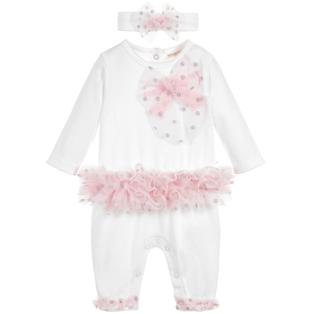 Mintini Baby Girls White & Pink Romper Set