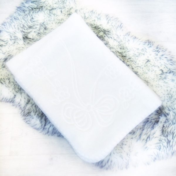 Unisex Baby White Fleece Blanket