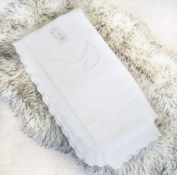 Unisex White Baby Shawl