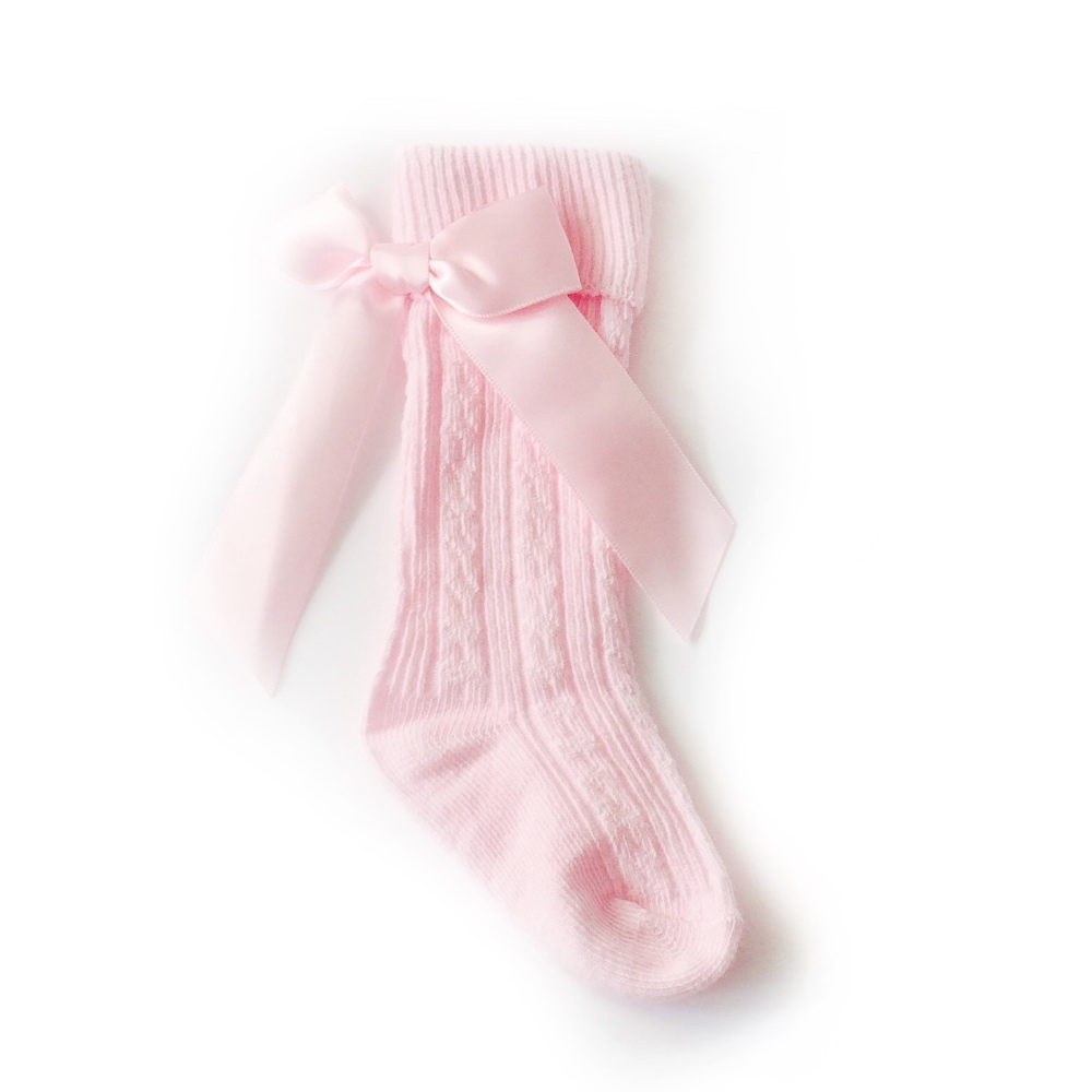 Baby Girls Pink Knee High Bow Socks