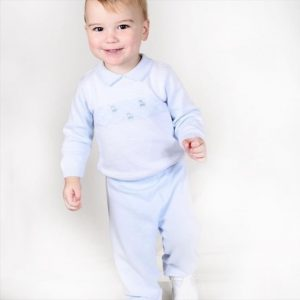 Pex Baby Boys Long Sleeve Blue Knitted Suit