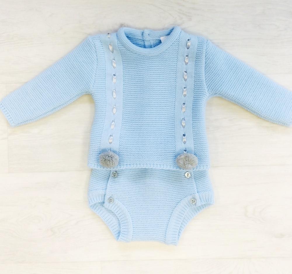 Baby Boys Blue Pom Pom Outfit