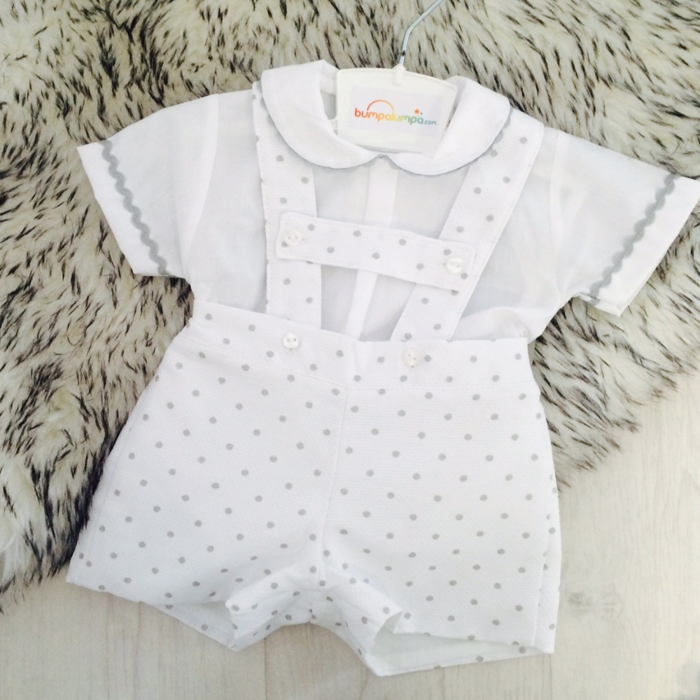 Baby Boys White & Grey Dungaree Set