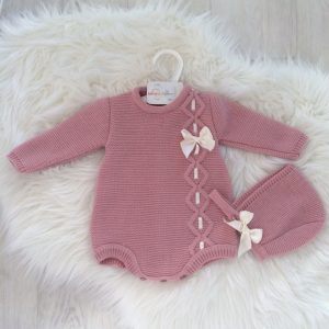 Baby Girls Pink Romper & Bonnet
