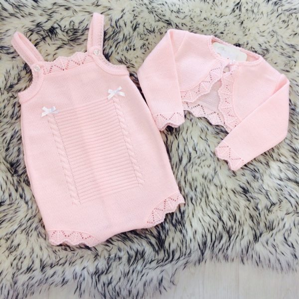 Baby Girls Pink Knitted Romper & Bolero Set