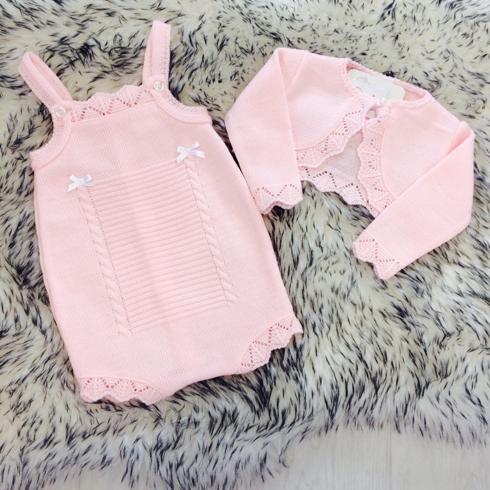 78d17c6e0 Baby Girls Pink Knitted Romper   Bolero Set