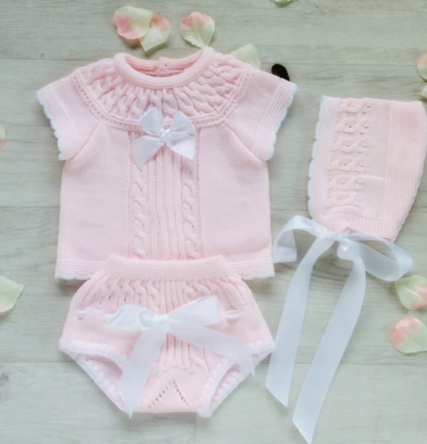 Baby Girls Pink Top Shorts & Bonnet