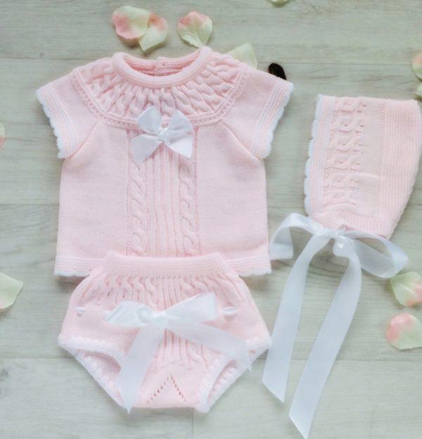 Baby Girls Pink Top Shorts & Bonnet
