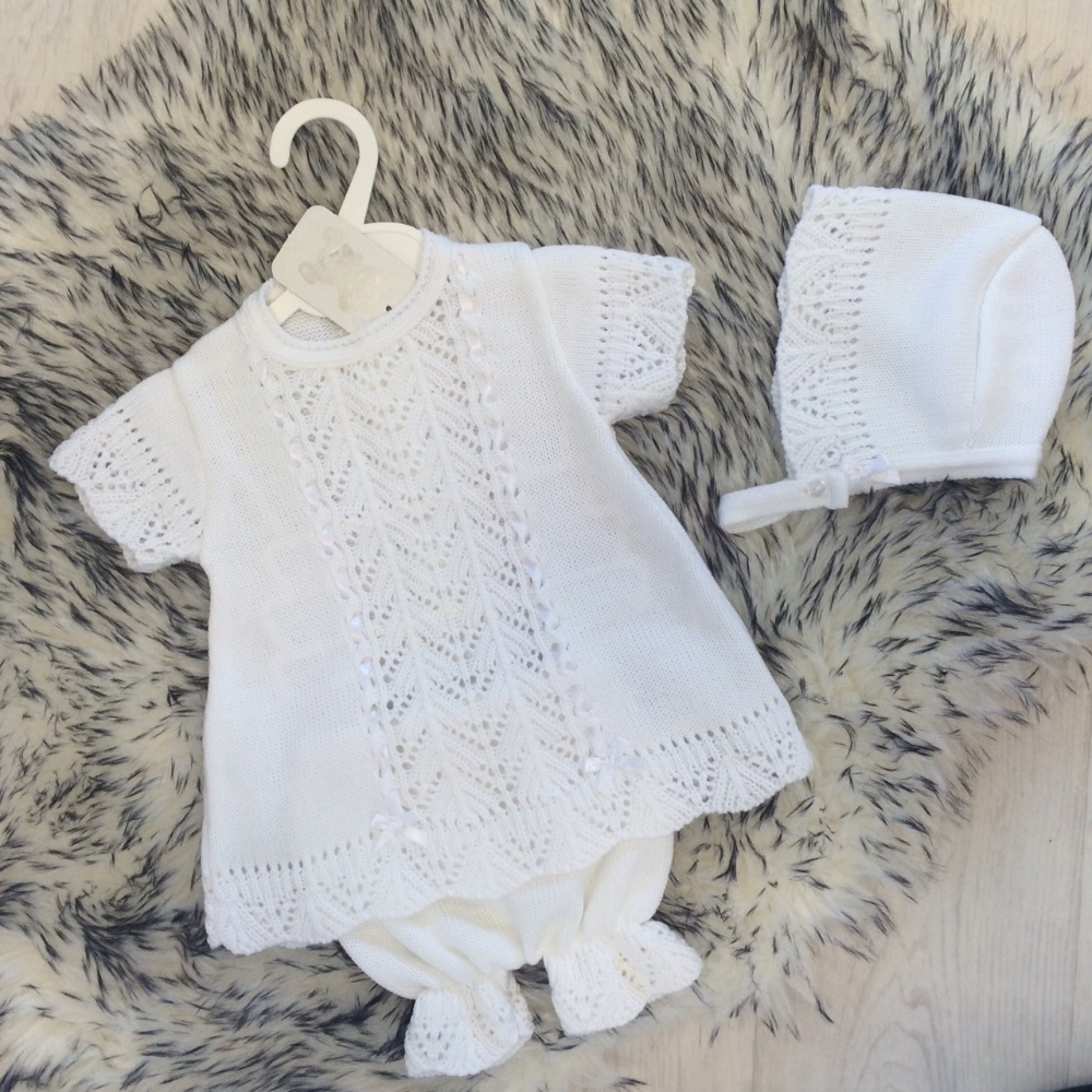 Baby Girls White Knitted Dress