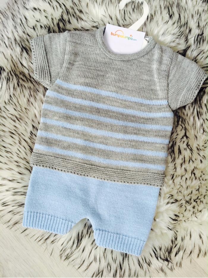 Baby Boys Blue & Grey Top & Shorts Set
