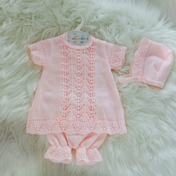 Baby Girls Pink Dress & Bloomer Set
