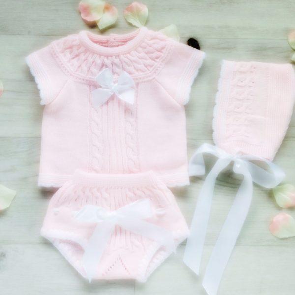 Baby Girls Pink Top Shorts & Bonnet Set