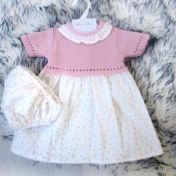 Baby Girls Pink & White Cotton Dress