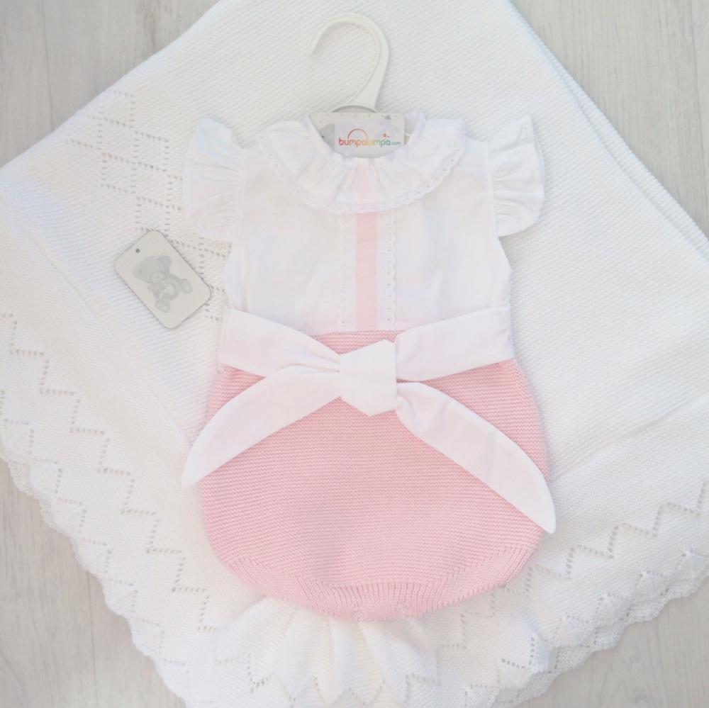 Baby Girls Pink & White Romper