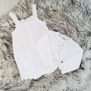 Baby Girls White Romper & Bolero Set