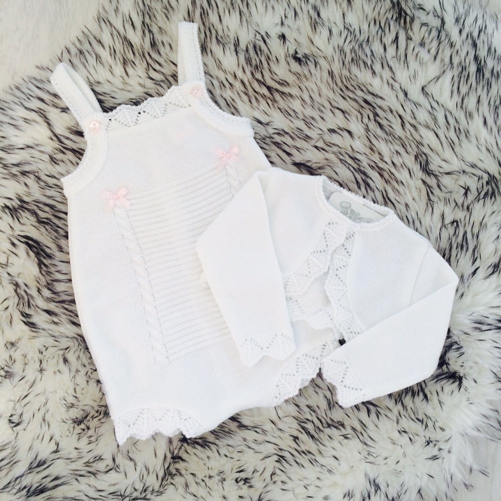 Baby Girls White Romper & Bolero Set