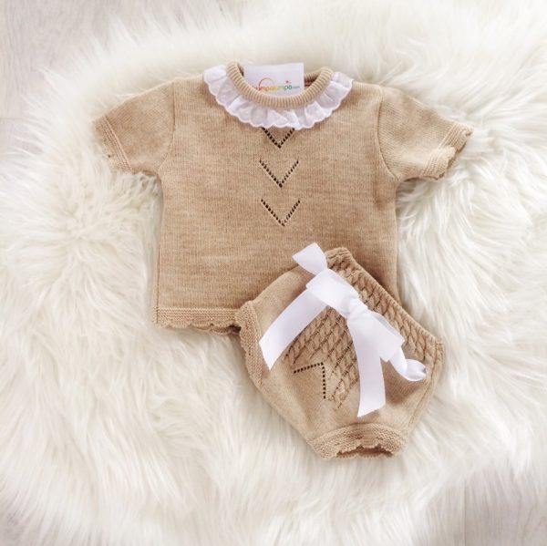 Baby Beige Top & Shorts Set