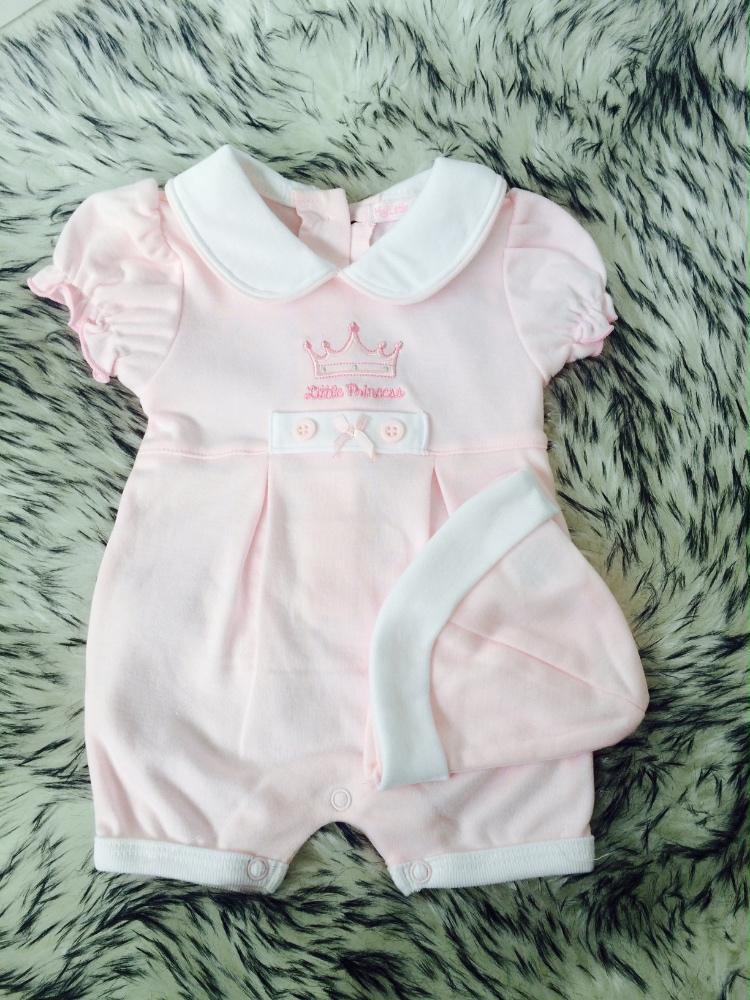 Baby Girls Pink Romper & Hat