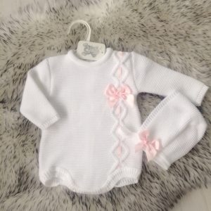 Baby Girls White Romper & Bonnet Set