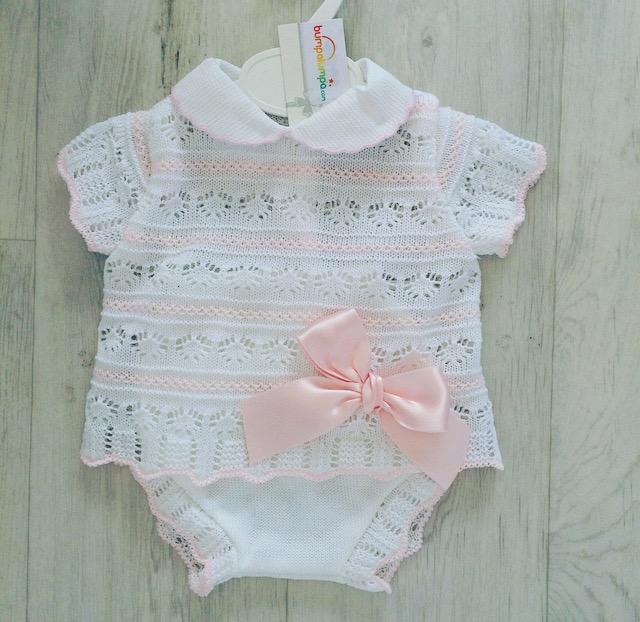 Baby Girls White & Pink Crochet Top & Shorts Set