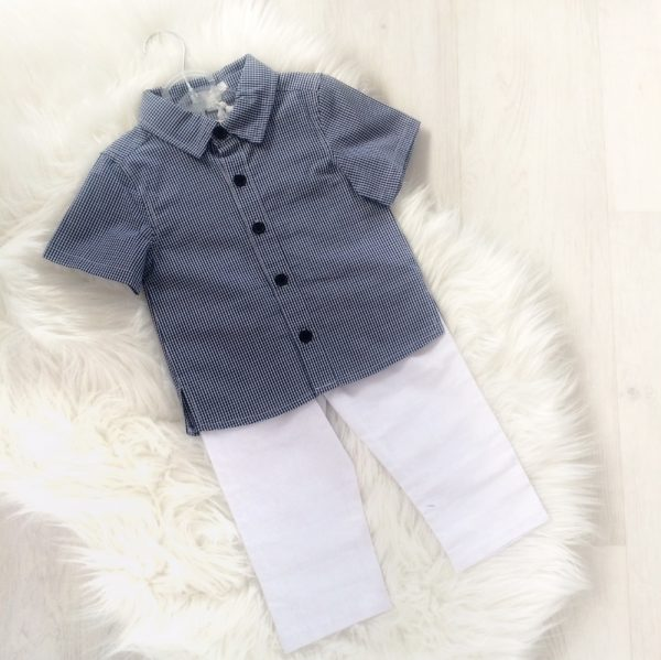 Baby Boys Check Top & White Trousers