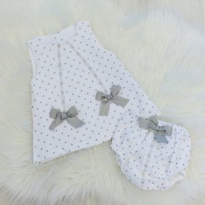 Baby Girl White & Grey Dress Set