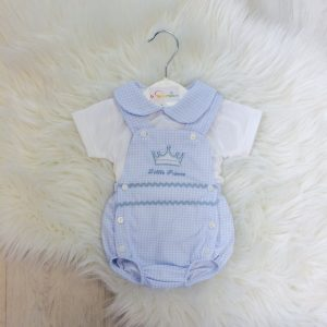 Baby Boys Little Prince Dungaree Shorts Set