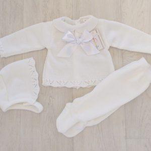 Newborn Baby White Three Piece Set