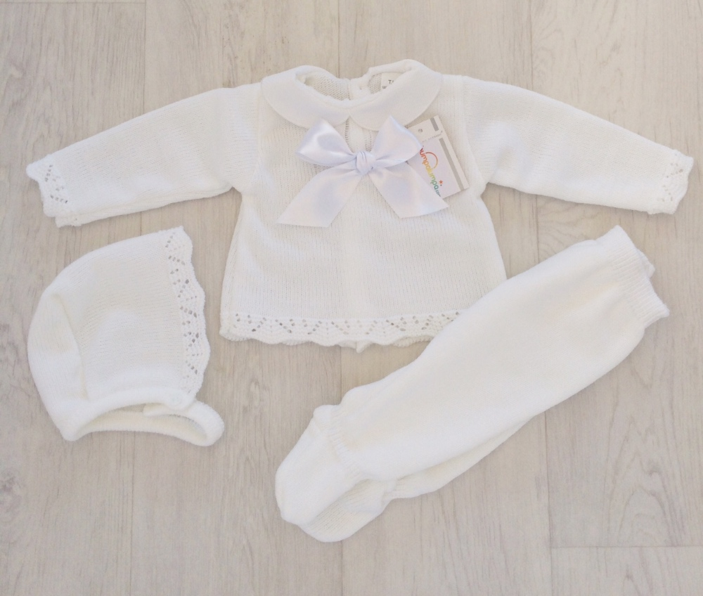 Newborn Baby White Three Piece Set