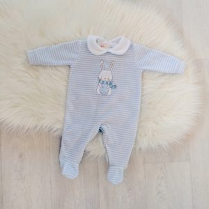 Baby Boy Blue Velour Babygrow