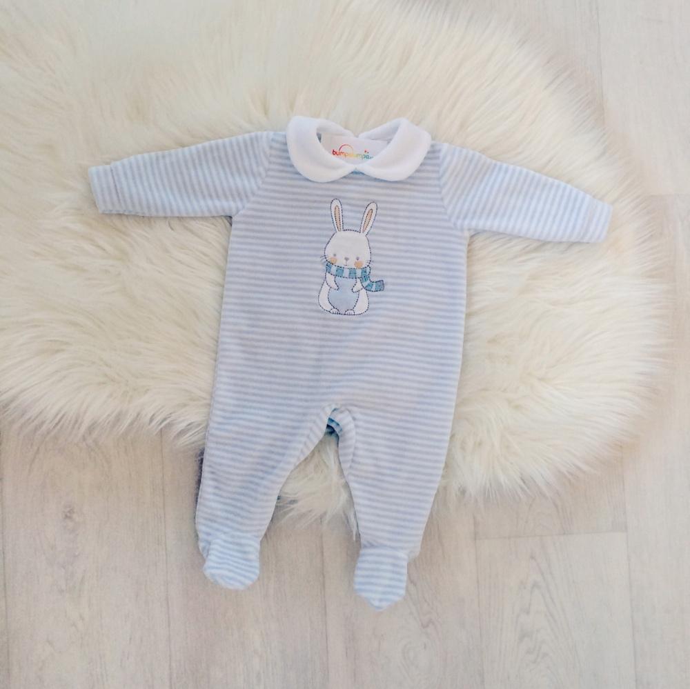 Baby Boy Blue Velour Babygrow