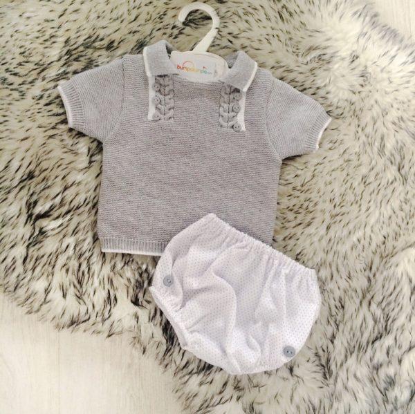 Baby Boys Grey & White Top & Shorts