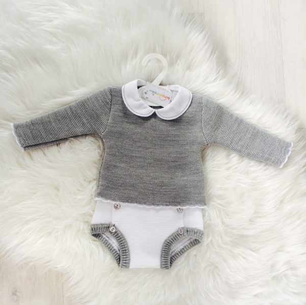 Baby Boys Grey Top & White Shorts Set