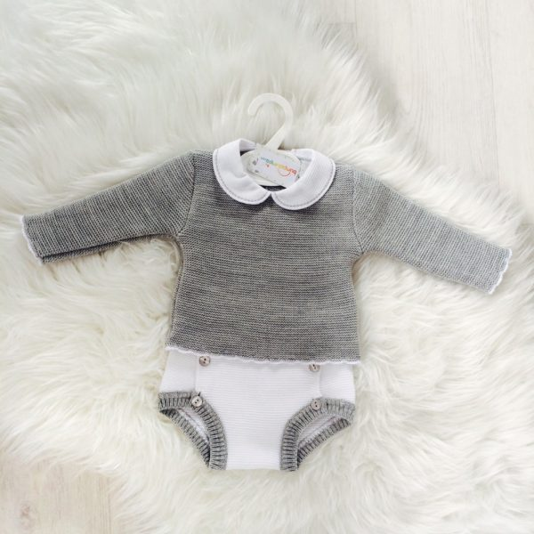 Baby Boys Grey Top & White Shorts Set