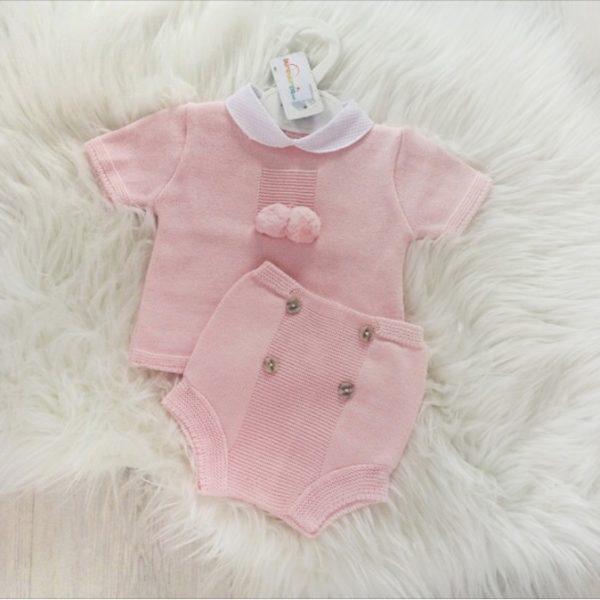 Baby Girls Pink Pom Pom Top & Shorts Set