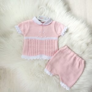 Baby Girls Pink Two Piece Short Set