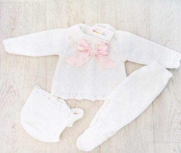 Baby Girls White Three Piece Set with Pink Bow