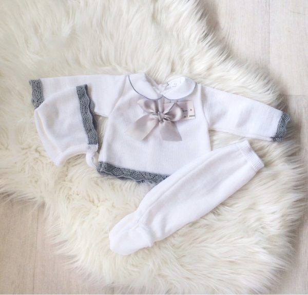 Baby White & Grey Three Piece Set