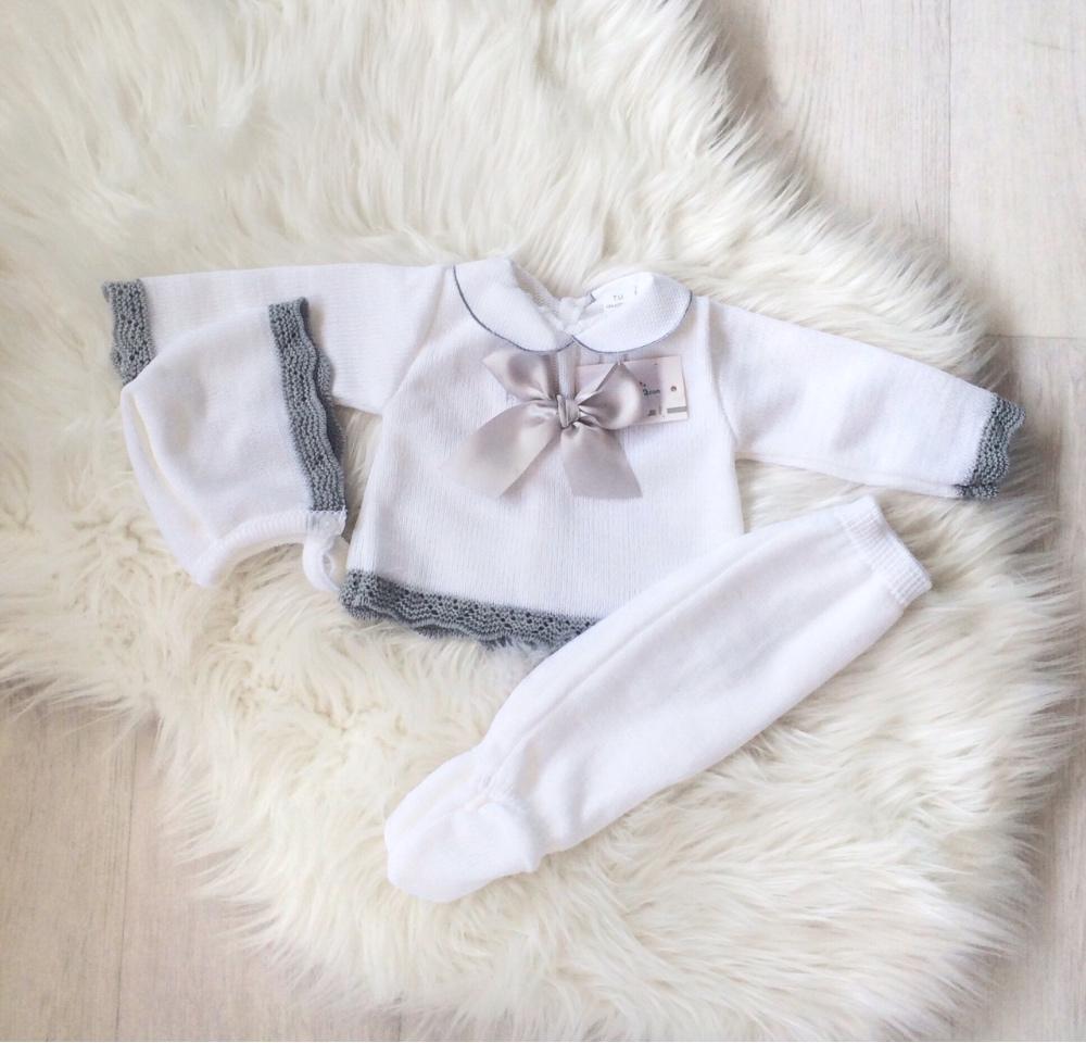Baby White & Grey Three Piece Set
