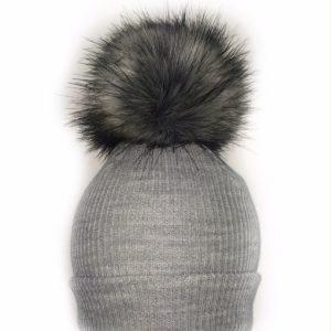 Grey Baby Pom Pom Hat