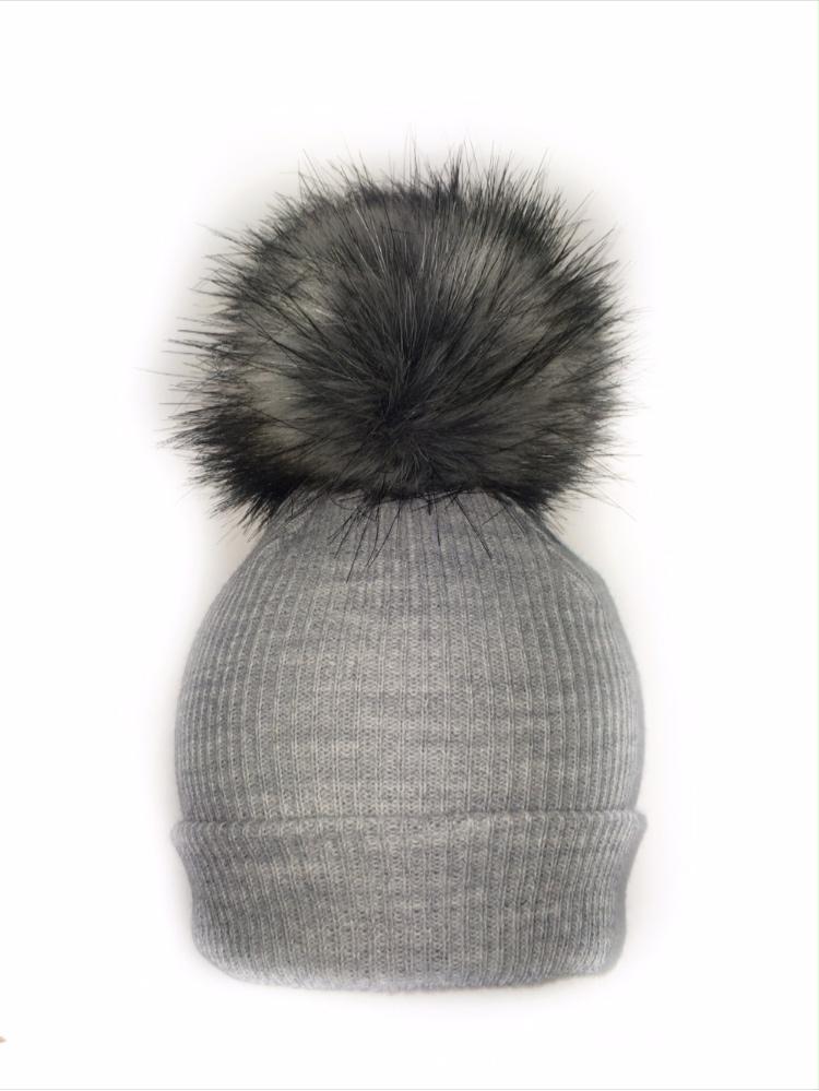 Grey Baby Pom Pom Hat  700e538b692