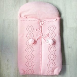 Baby Girls Pink Knitted Pram Nest