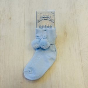 Baby Blue Pom Pom Ankle Socks