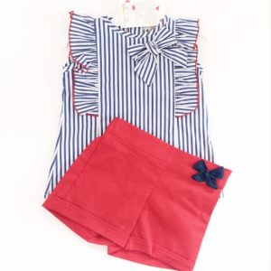 Girls Stripe Top & Shorts Set