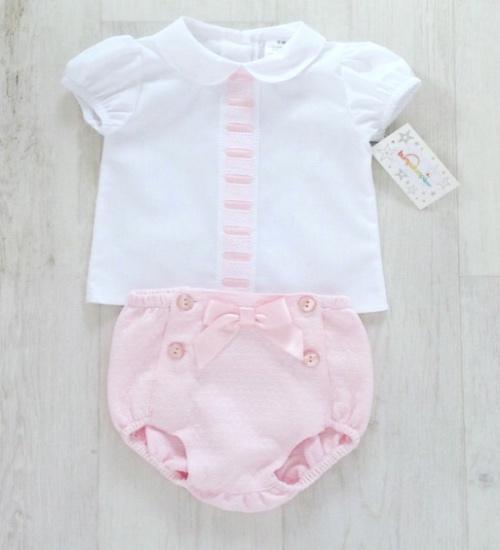 Baby Girls White Blouse & Pink Shorts Set