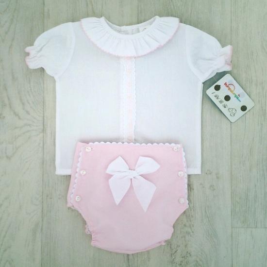 Baby Girls White Top & Pink Shorts Set