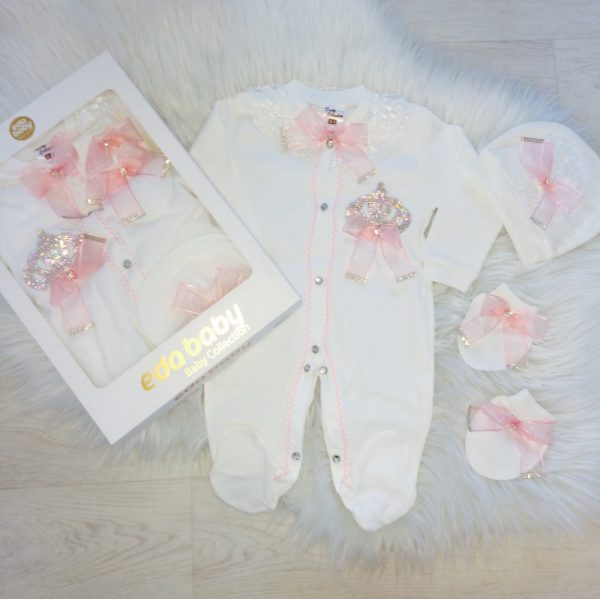 Baby Girls Ivory & Pink Babygrow Set