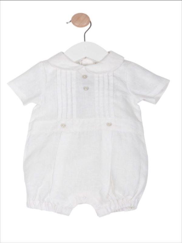 Baby Boys White Linen Romper