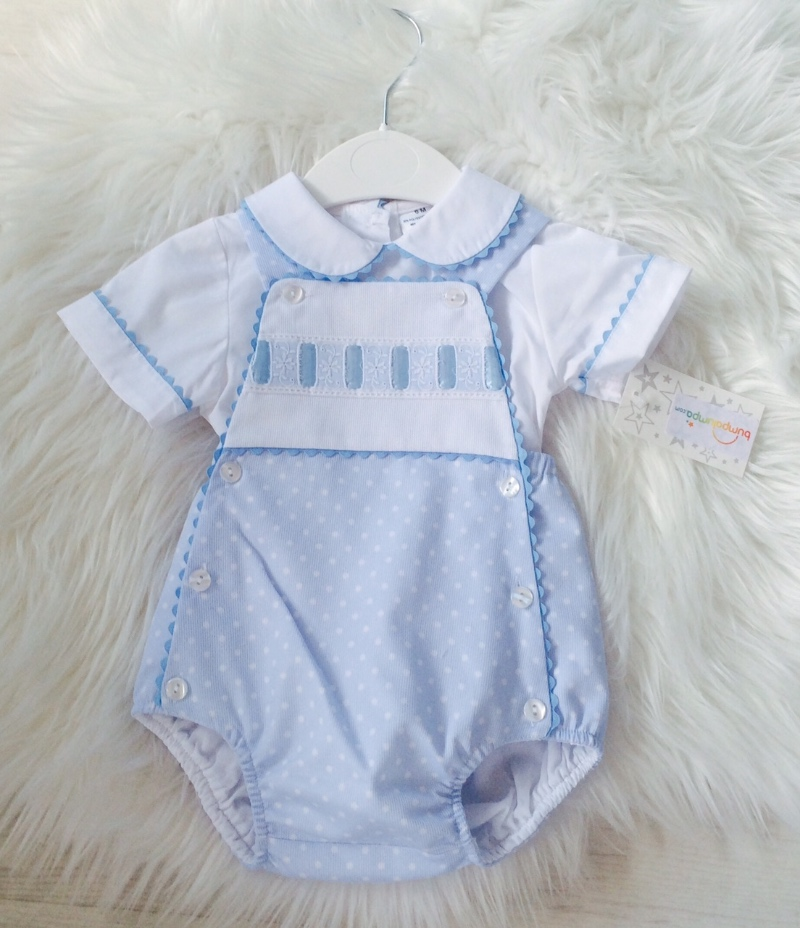 Baby Boys Blue Romper Shorts Set