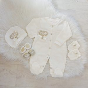 Baby Girls Ivory Babygrow Set